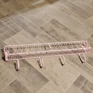 Cotton Candy Pink Metal Hook Wall Shelf